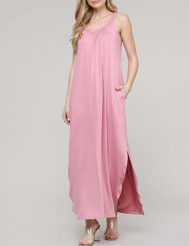 Camisole Neckline Loose Fitting Slit Side Shirring Front Maxi Dress