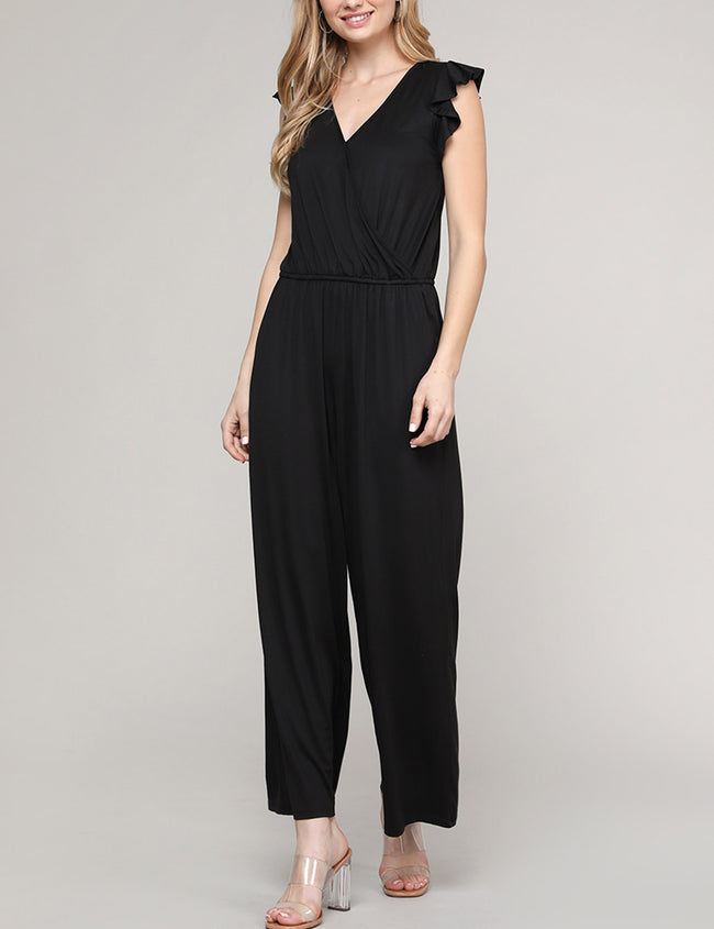 BLACK | CWDMD154 Ruffle Cap Sleeve Surplice Neckline Loose Fitting Comfortable Jumpsuit