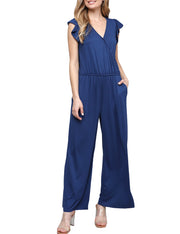 Womens ruffle cap sleeve surplice neckline loose fitting comfortable jumpsuit with elastic waist band and 2 side han stretch knit tpockets