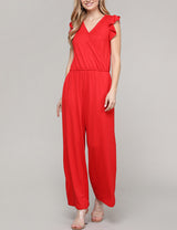 RED | CWDMD154 Ruffle Cap Sleeve Surplice Neckline Loose Fitting Comfortable Jumpsuit