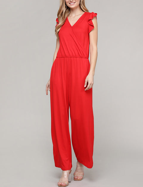 Ruffle Cap Sleeve Surplice Neckline Loose Fitting Comfortable Jumpsuit