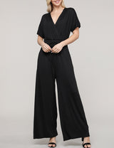 Womens kimono short sleeve surplice neckline loose fitting jumpsuit with 2 side hand pockets