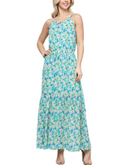 Womens camisole neckline loose fitting maxi dress with elastic waist banded
