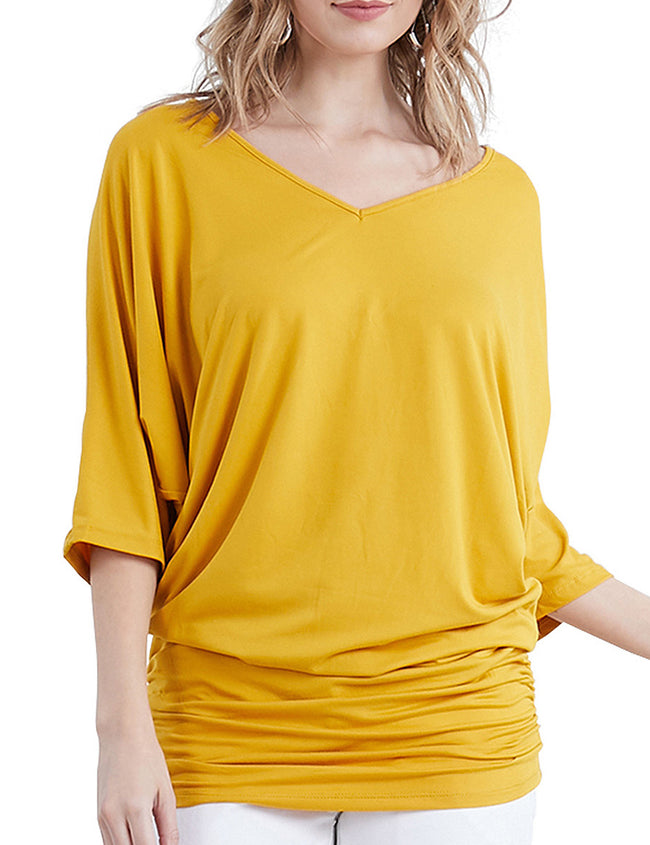 DOLMAN 3/4 SLEEVE SIDE SHIRRING V- NECK DRESS