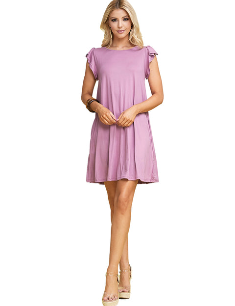 Ruffle Cap Sleeve Boat Neckline Draped Short Dress