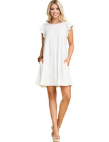 Womens ruffle cap sleeve boat neckline draped short dress