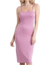 Woman sleeveless camisole neckline tight short dress with metal trim thin strap