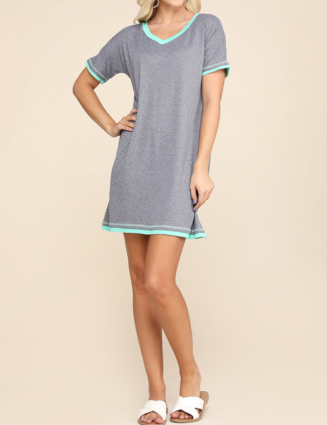 HGREYICEBLUE | CWDSD514 V-Neck Stylish Layered Short Dress