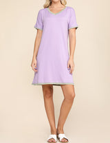 LILACDUSTYSAGE | CWDSD514 V-Neck Stylish Layered Short Dress