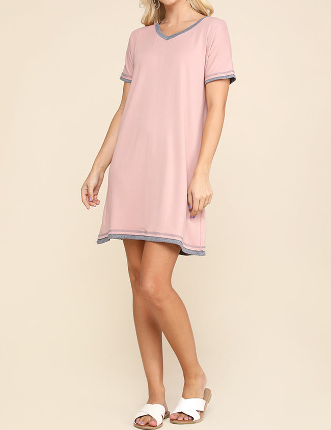 MAUVEHGREY | CWDSD514 V-Neck Stylish Layered Short Dress