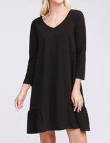 3/4 Sleeve Decollete Neckline Ruffle Peplum Loose Fitting Lovely Short Dress