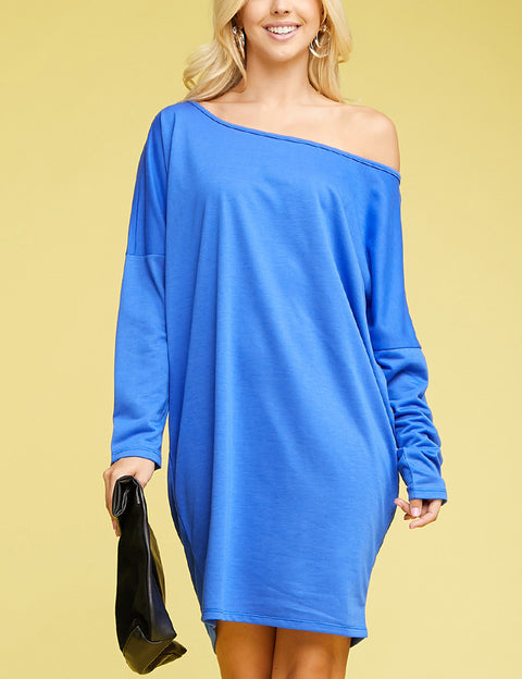 Dolman Scooped Neckline Loose Fitting Casual Short Dress