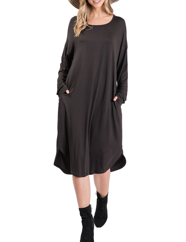 Womens long sleeve scooped neckline loose fitting comfortable dress with 2 side hand pockets
