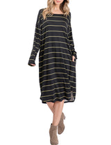 IDARBI Womens Solid and Striped Long Sleeve Jersey Dress with Yoke Detail and Side Pocket