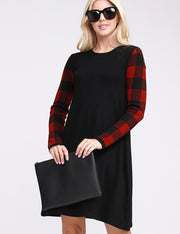 Womens plaid long sleeve round neckline knit sweater loose fitting casual short dress