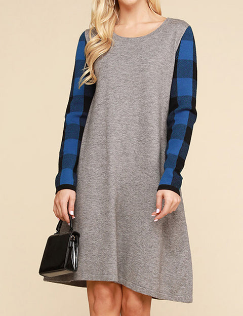 Plaid Round Neckline Knit Sweater Loose Fitting Casual Short Dress