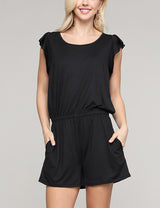 Ruffle Cap Sleeve Round Neck Lovely Romper