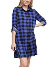 Womens roll up tab sleeve loose fitting flared plaid shirts dress