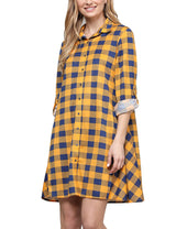 Roll Up Tab Sleeve Loose Fitting Flared Plaid Shirts Dress