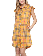 Womens ruffle cap sleeve loose fitting plaid shirts dress with 2 side hand pockets
