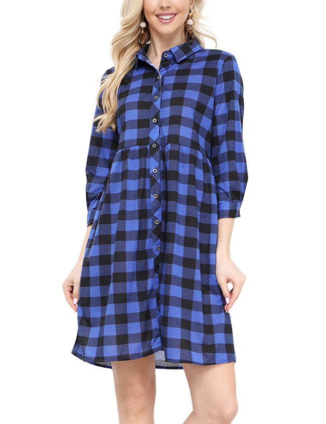 Womens rol lup 3/4 sleeve plaid flared shirt dress with 2 side pockets