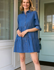 Womens 3/4 sleeve loose fitting button down lovely casual shirt dress with flared hem