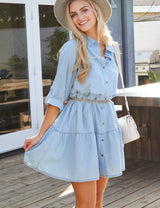 LIGHTBLUE | CWDSD536 3/4 Sleeve Loose Fitting Button Down Lovely Casual Shirt Dress
