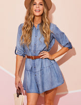 MIDBLUE | CWDSD536 3/4 Sleeve Loose Fitting Button Down Lovely Casual Shirt Dress