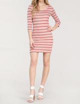 Scoop Neck 3/4 Sleeve Mini Dress