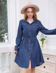 Button Up Denim Chambray Shirt Dress with Drawstring
