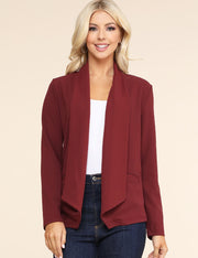 Asymmetrical Wide Shawl Lapel Open Front Blazer