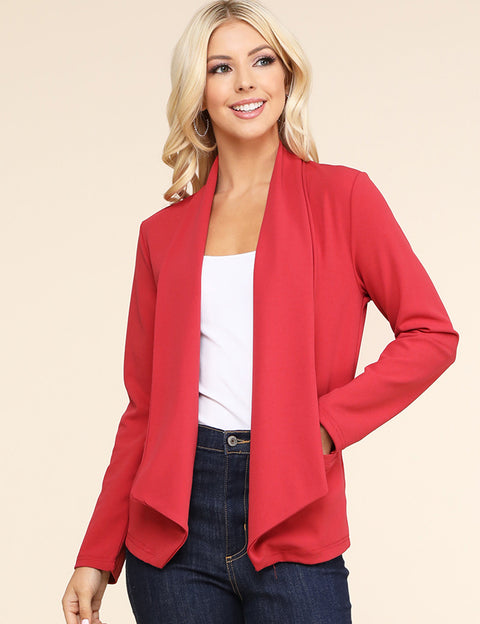 Womens long sleeve asymmetrical wide shawl lapel open front blazer with 2 side hand pockets