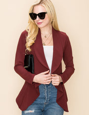 Womens long sleeve crepe flare wide shawl lapel open front blazer