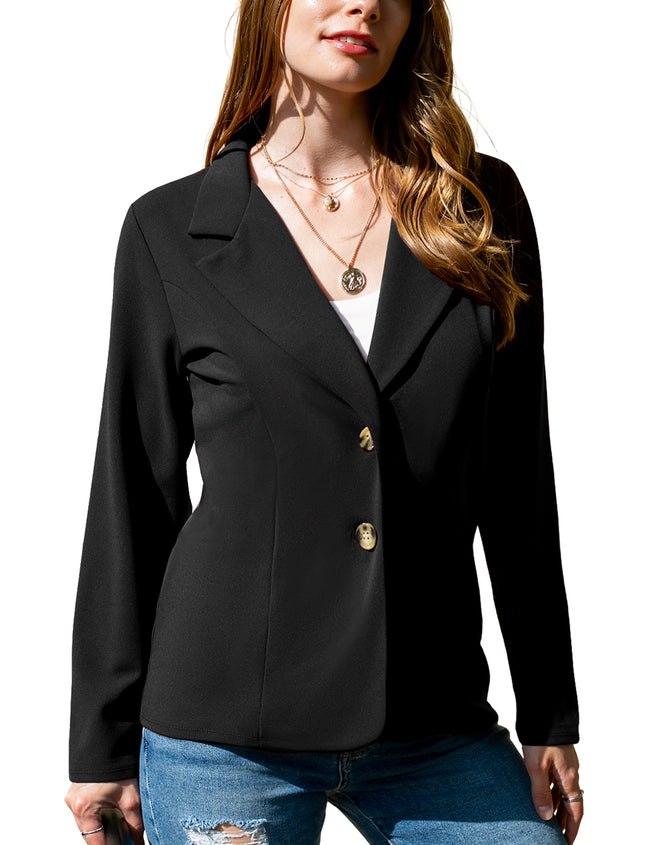 Womens long sleeve 2 button notched blazer