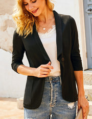 One Button with Shirring Detailed Sleeve Blazer