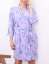 Womens 3/4 kimono sleeve short robe with color strap