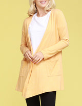 Plus Size Long Sleeve Draped Cardigan With Pocket