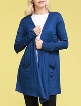 Womens long sleeve open front draped cardigan with 2 front hand pockets