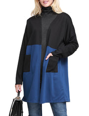 Womens long sleeve 2 color block open front cardigan with cotrast 2 side hand pockets