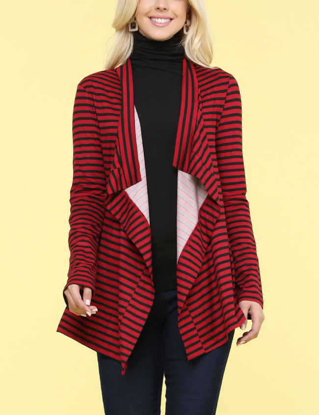 Shawl Lapel Open Front Loose Fitting Draped Print Cardigan