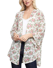 BEIGEFLORAL | CWOCAL120 Kimono 3/4 Sleeve See-Through Loose Fitting Open Front Light Cardigan
