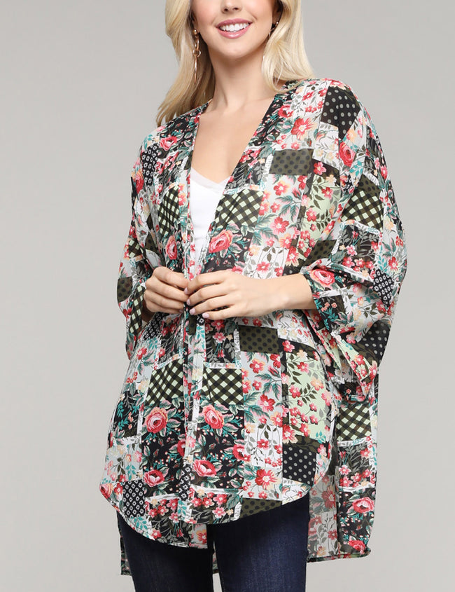 Kimono 3/4 Sleeve See-Through Loose Fitting Open Front Light Cardigan