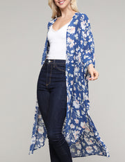 Kimono 3/4 Sleeve Open Front See-Through Lightweight Loose Fitting Long Gardigan