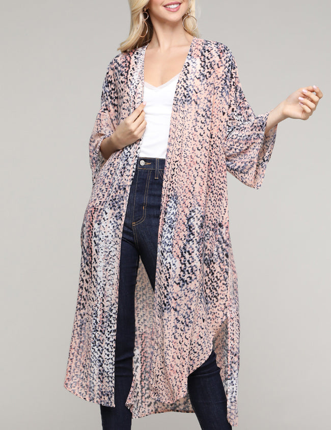 Womes kimono 3/4 sleeve open front see-through lightweight loose fitting long gardigan with slit side hem