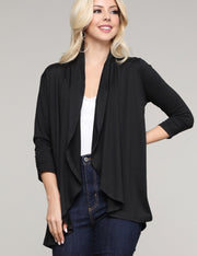 3/4 Sleeve Open Front Loose Fitting Stylish Draped Long Cardigan