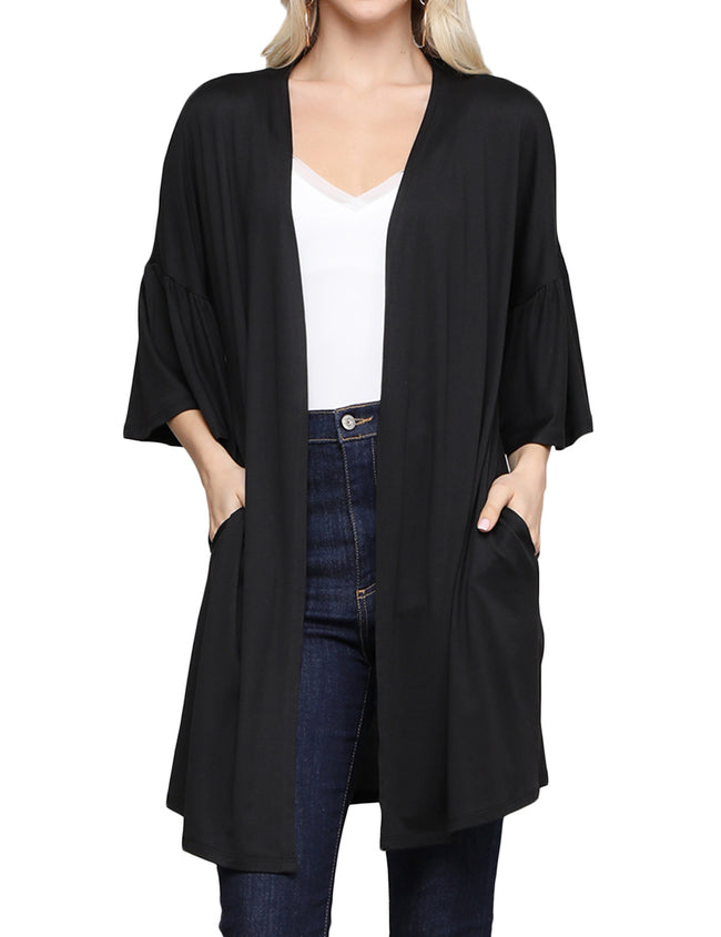 BLACK | CWOCAL123 Ruffle 3/4 Sleeve Open Front Loose Fitting Light Draped Cardigan
