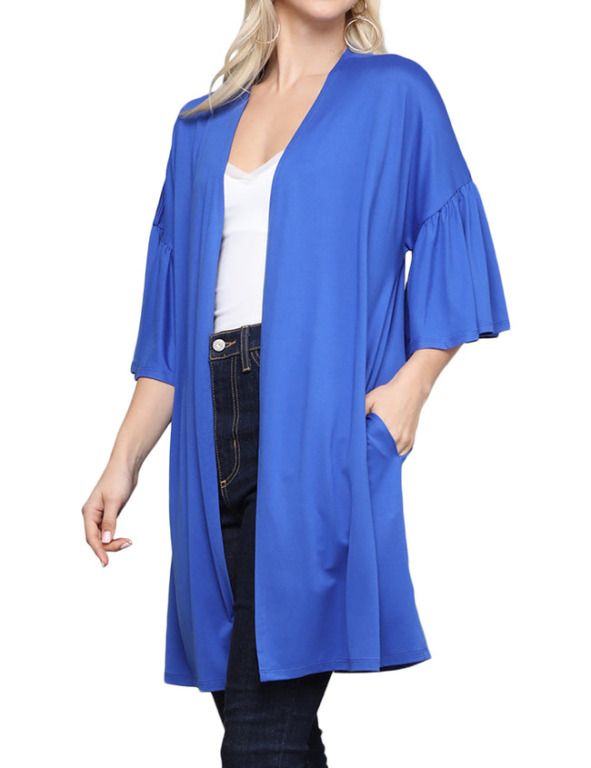 ROYAL | CWOCAL123 Ruffle 3/4 Sleeve Open Front Loose Fitting Light Draped Cardigan