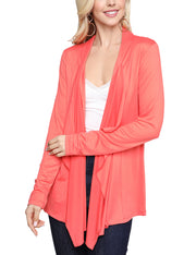 Womens 3/4 sleeve open front loose fitting draped cardigan
