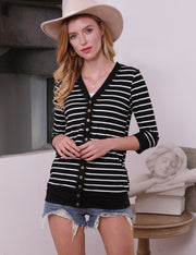 Womens 3/4 sleeve v-neck comfortable casual striped cardigan with snap buttons