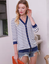 3/4 Sleeve V-Neck Comfortable Casual Striped Cardigan